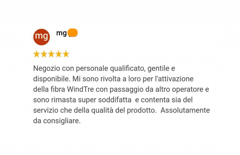 recensione cliente